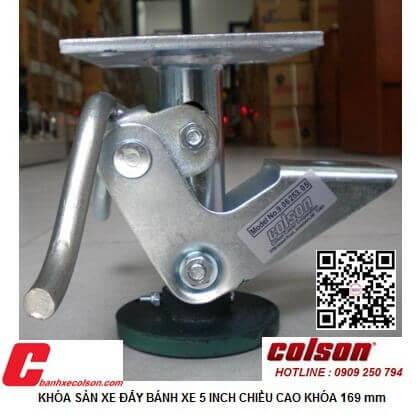 Hình thực tế khóa đạp nâng xe đẩy Colson Mỹ chiều cao khi khóa 169mm 6253x5 banhxecolson.com