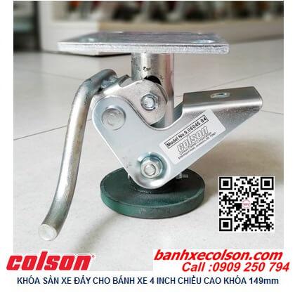 Hình thực tế khóa sàn cho xe đẩy hàng Colson Mỹ có chiều cao khóa 149mm 6045x4 banhxecolson.com