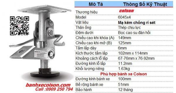 Thông số khóa sàn cho xe đẩy hàng Colson Mỹ có chiều cao khóa 149mm 6045x4 banhxecolson.com