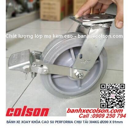 Hình thực tế bánh xe cao su có khóa kích thước bánh xe 200 4-8199-459BRK1