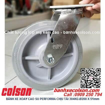 Hình thực tế bánh xe cao su d200 càng thép xoay chịu lực 304kg 4-8199-459 banhxecolson.com