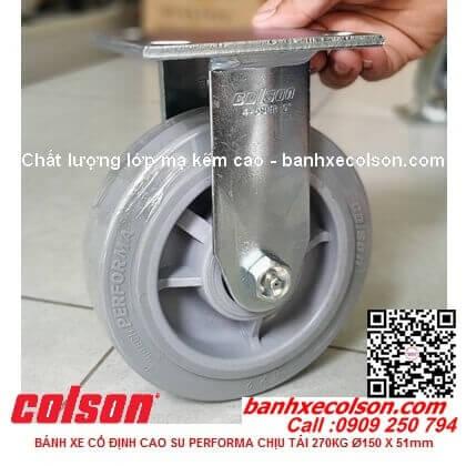 Hình thực tế bánh xe đẩy cao su đặc 150 (6 inch) cố định Colson 4-6108-459 banhxecolson.com