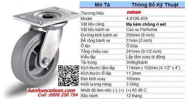 Kích thước bánh xe cao su d200 càng thép xoay chịu lực 304kg 4-8199-459 banhxecolson.com