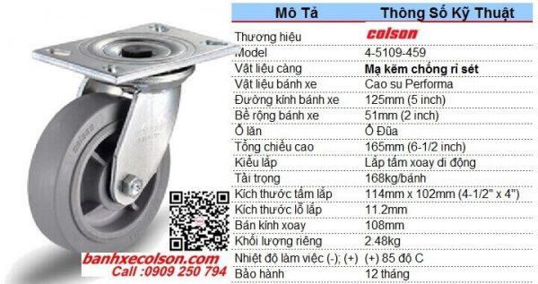 quy cách bánh xe cao su chịu lực 168kg d125 càng xoay Colson 4-5109-459 banhxecolson.com