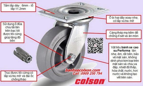 Quy cách bánh xe cao su d200 càng thép xoay chịu lực 304kg 4-8199-459 banhxecolson.com