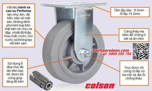 Quy cách bánh xe đẩy cao su Performa cùm đứng banhxecolson.com