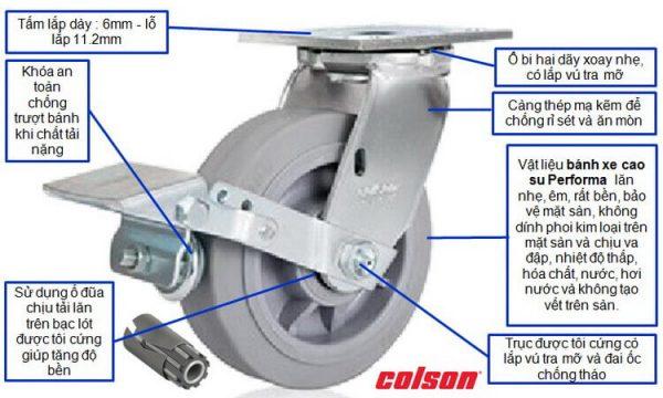 Quy cách bánh xe đẩy cao su Performa nhãn hàng độc quyền của Colson Mỹ
