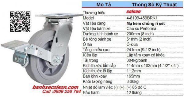 Thông số bánh xe cao su có khóa kích thước bánh xe 200 4-8199-459BRK1