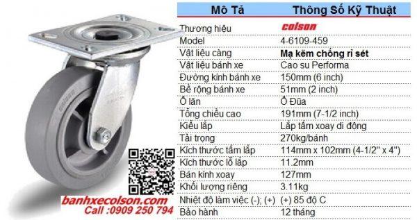 Thông số bánh xe cao su xoay phi 150 chịu lực 270kg Colson 4-6109-459 banhxecolson.com