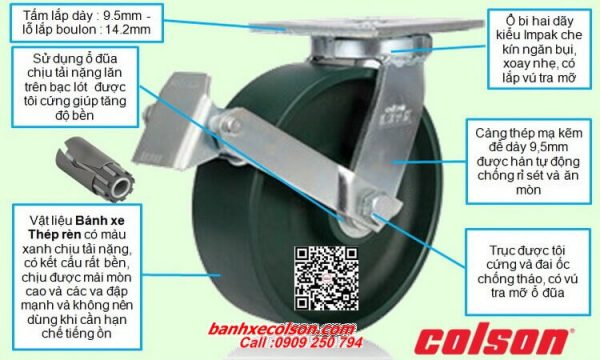 Thông số bánh xe đẩy siêu tải xoay khóa banhxecolson.com