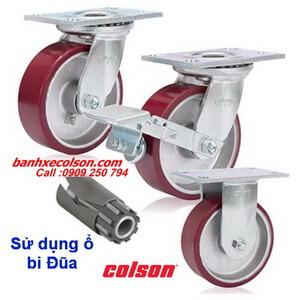 Bánh xe đẩy chịu tải nặng ( 540kg đến 675kg ) PU đỏ lõi nhôm banhxecolson.com