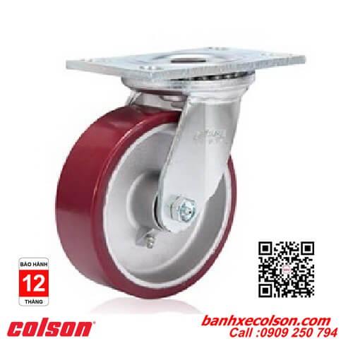 Bánh xe đẩy chịu tải nặng càng xoay PU đỏ lõi nhôm banhxecolson.com
