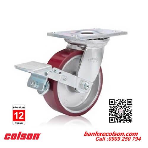 Bánh xe đẩy chịu tải nặng có khóa PU đỏ lõi nhôm banhxecolson.com