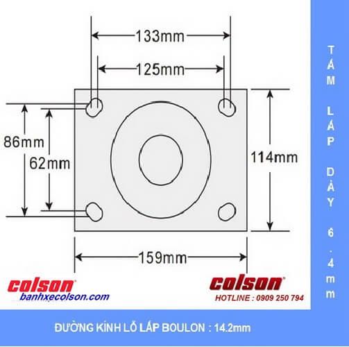 Kích thước tấm lắp bánh xe đẩychịu tải nặng 6 Series banhxecolson.com