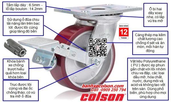 Mô tả quy cách bánh xe đẩy chịu tải nặng ( 540kg đến 675kg ) PU đỏ lõi nhôm banhxecolson.com