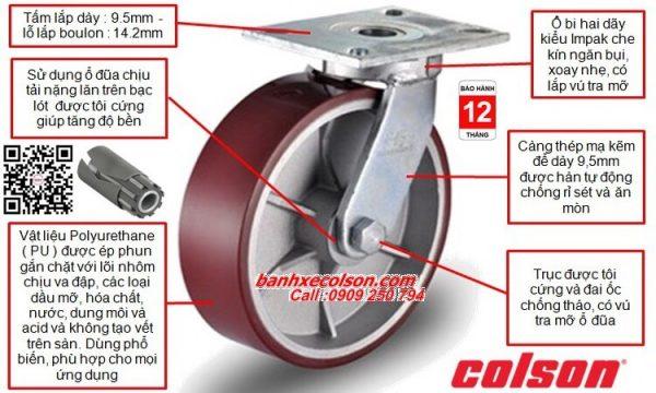 Mô ta quy cách bánh xe đẩy chịu lực 1,035-1,575kg PU-AL banhxecolson.com