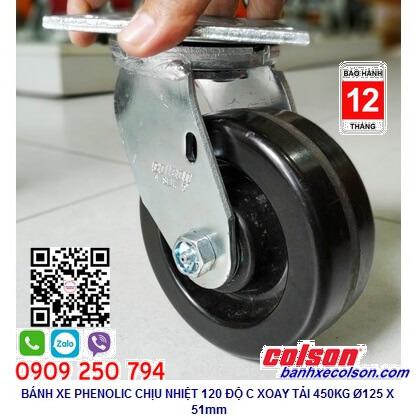 Hình thực tế Bánh xe xoay Phenolic 5x2inch càng thép chịu nhiệt 4-5109-339 banhxecolson.com