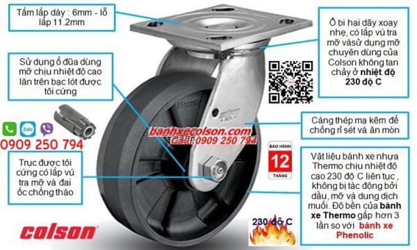 Mô tả bánh xe xoay chịu nhiệt độ cao 230 độ C Colson Series 4 banhxecolson.com