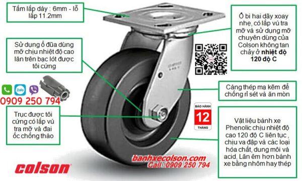 bánh xe chịu nhiệt phenolic colson càng xoay banhxecolson.com