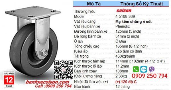 Thông số Bánh xe Phenolic 125x51 càng thép cố định chịu nhiệt 4-5108-339 banhxecolson.com